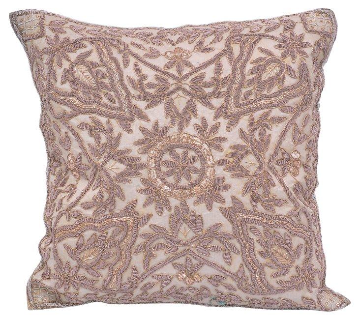 Pillow w/ Indian  Dabka Embroidery