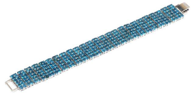 Blue Rhinestone Panel Bracelet