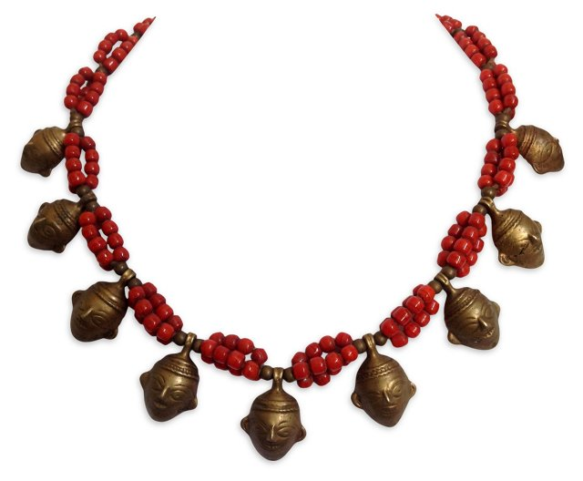Tribal Mask & Coral Beads Necklace
