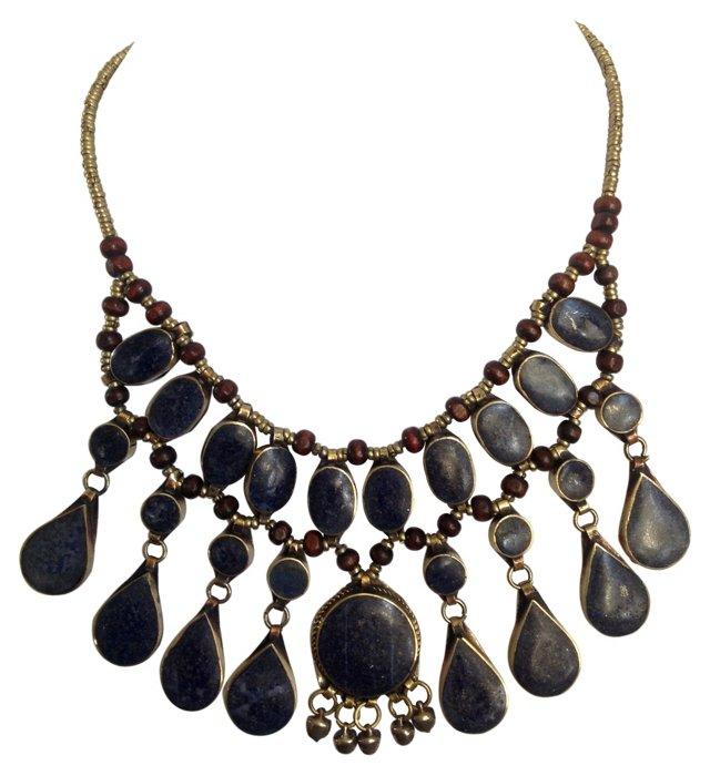 Lapis Drop Collar Necklace