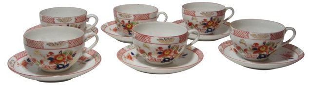 Imari Pattern Cups & Saucers, S/6