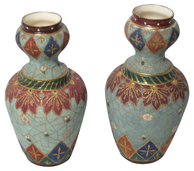 Royal Rudolstadt Tapestry Vases, Pair