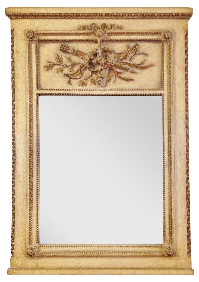 Vintage Louis XVI-Style Painted Trumeau