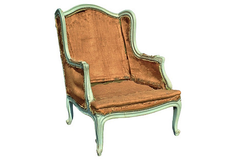 French Painted Carved Wood Bergère