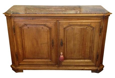 Antique Walnut Sideboard w/ Marble Top