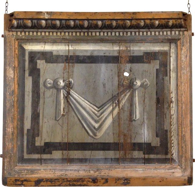 Antique Faux-Bois Painted Panel