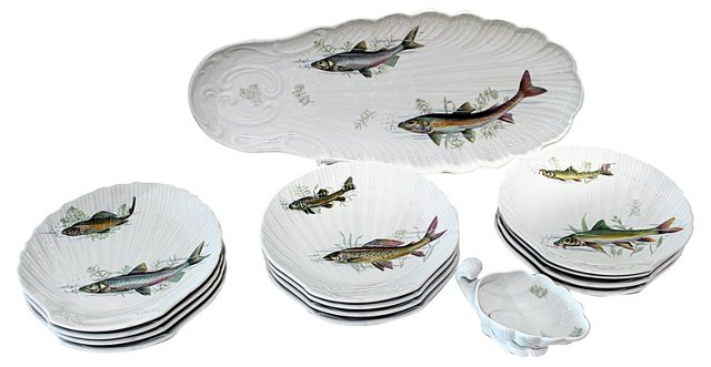 Sologne France Fish Plates, Svc. for 12