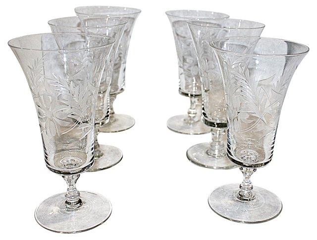 Light Crystal Etched Wine Glasse, S/6