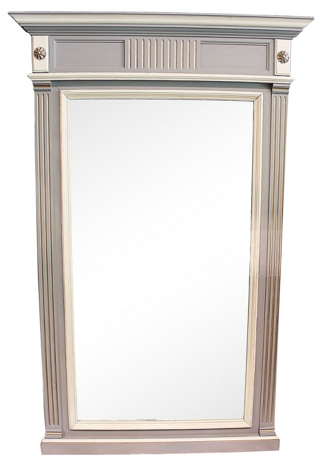 19th-C. French Painted Mirror