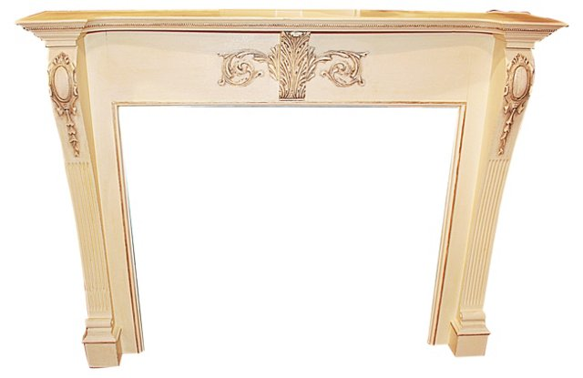 19th-C. Painted Oak Mantle
