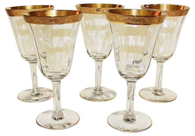 Gilt & Crystal Wine Goblets, S/5