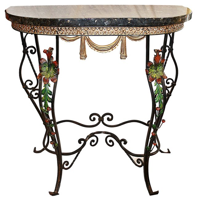 Stone-Top Iron Console Table