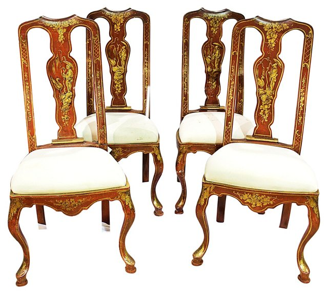 Chinoiserie Queen Anne-Style Chairs, S/4