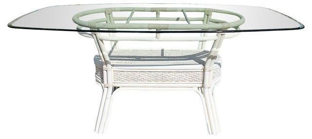 Rattan Glass-Top Table