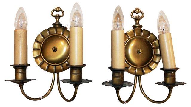 Brass Sconces, Pair