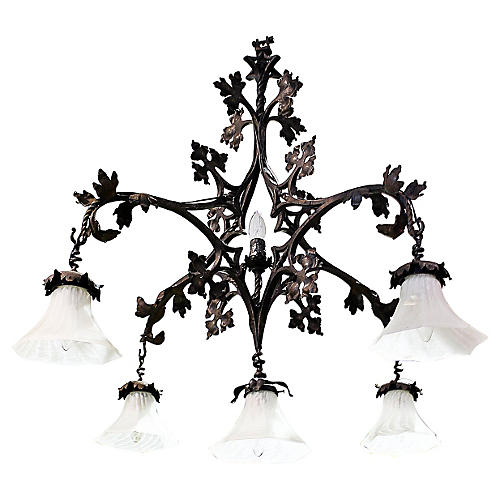French Wrought Iron Chandelier Marrou