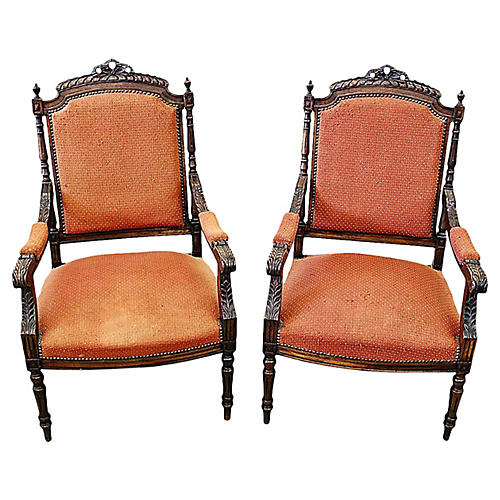 French Carved Fauteuils, Pair