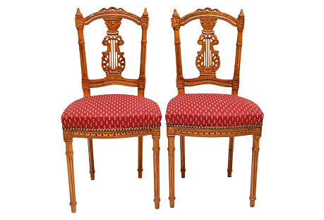 French Lyre-Back  Chairs, Pair