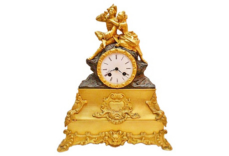 French Doré Bronze Mantel Clock