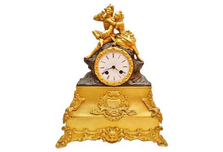 French Doré Bronze Mantel Clock