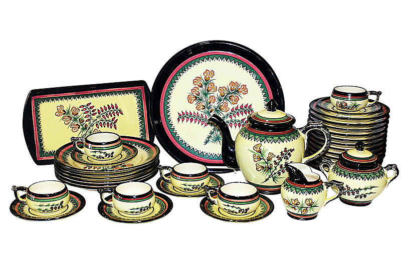 Quimper Tea Set, 35 Pcs