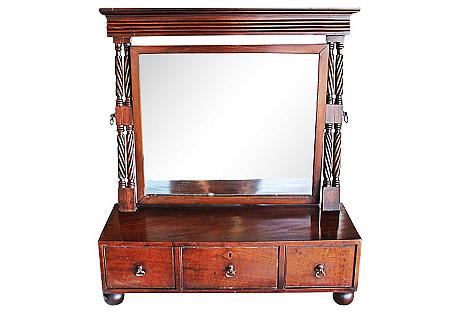 Antique English Shaving Mirror