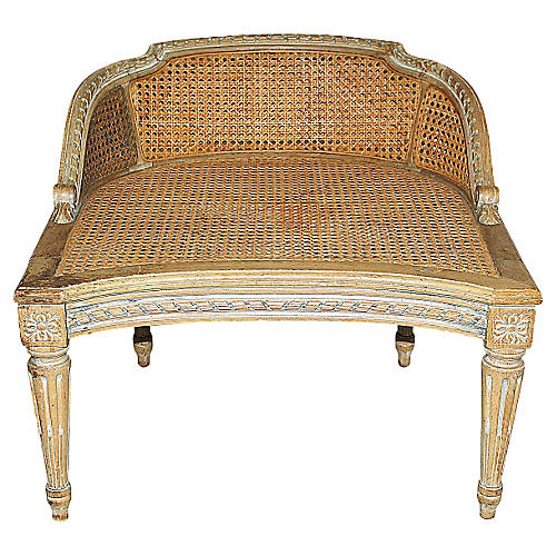 Antique Caned French Seat