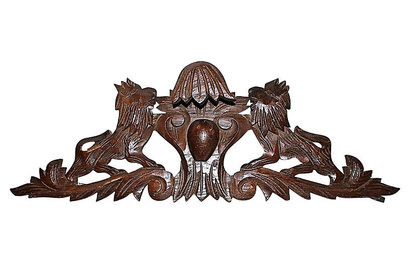 French Oak Lion Cartouche
