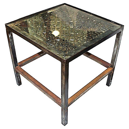Polished Industrial Steel Side Table