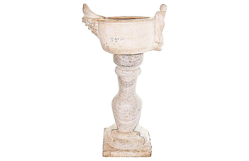 Antique Marble Pedestal Planter