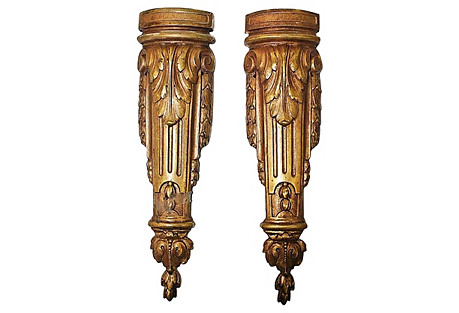 Gold-Plated French Mounts, S/2