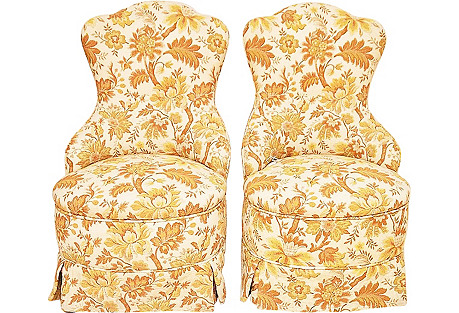 Brocade Slipper Chairs, Pair