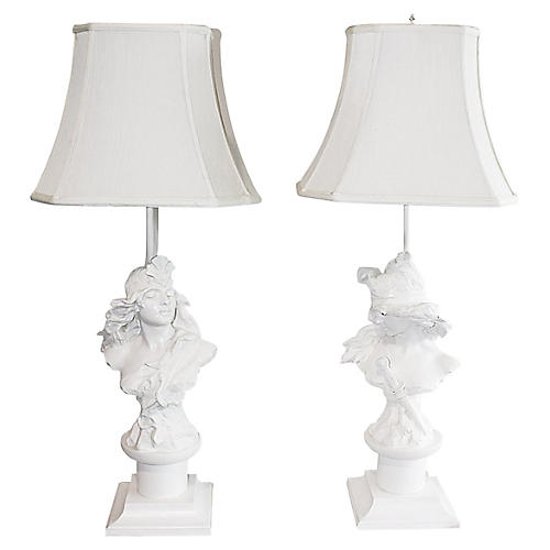 A. Foretay Figural Lamps, S/2