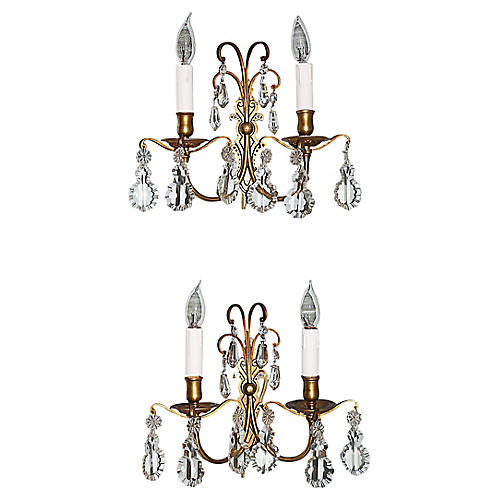 French Bronze Sconces, Pair