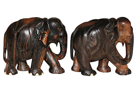 Carved Elephants, Pair