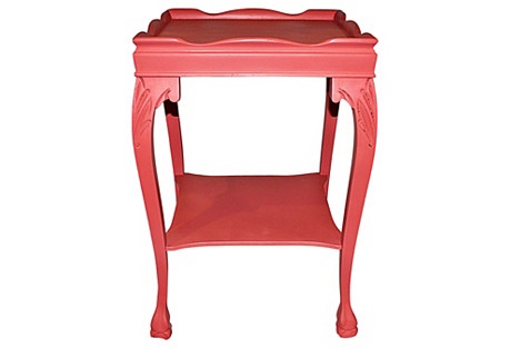 Coral Painted Mahogany Side Table