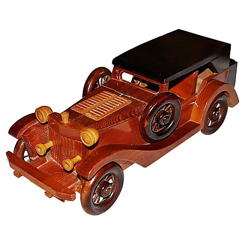 1970s Wood Antique-Car Model