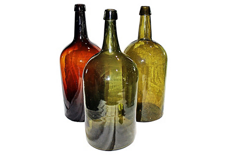 Trio of Antique Demijons Bottles