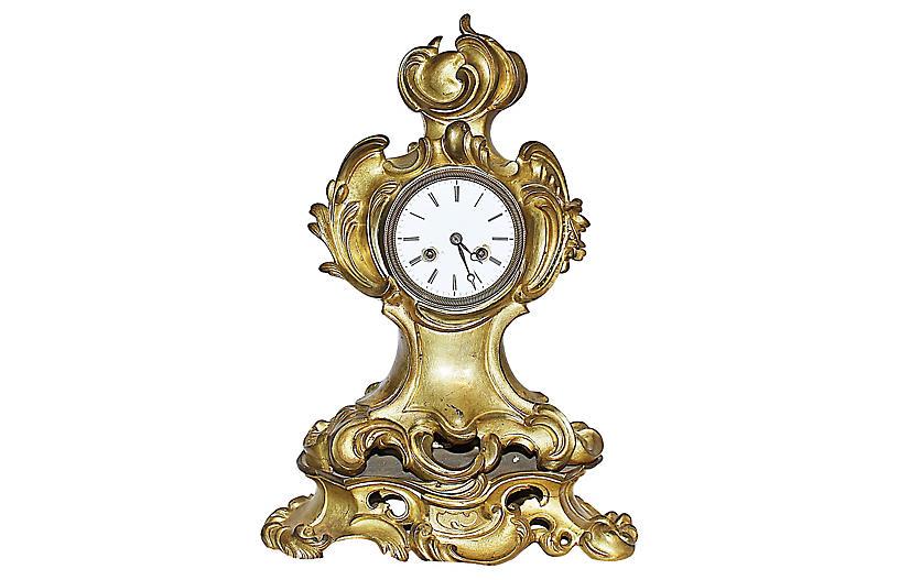 French Rococo-Style Bronze Mantel Clock