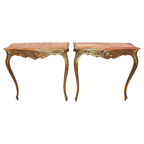 French Gilt Consoles, Pair