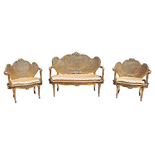 Gilt Rococo Salon Set, 3 Pcs