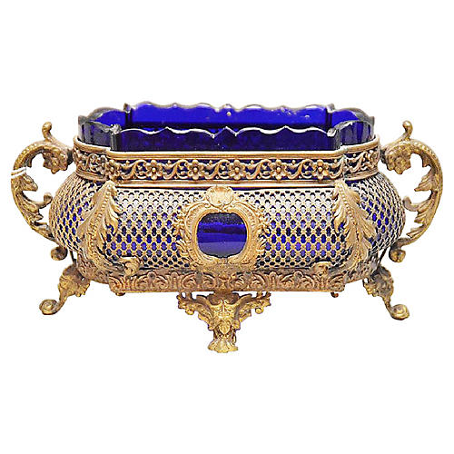 Antique Cobalt Glass & Bronze Cachepot