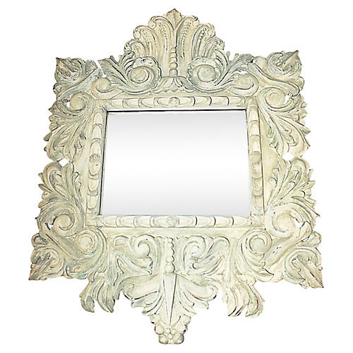 Baroque-Style Hand-Carved Mirror