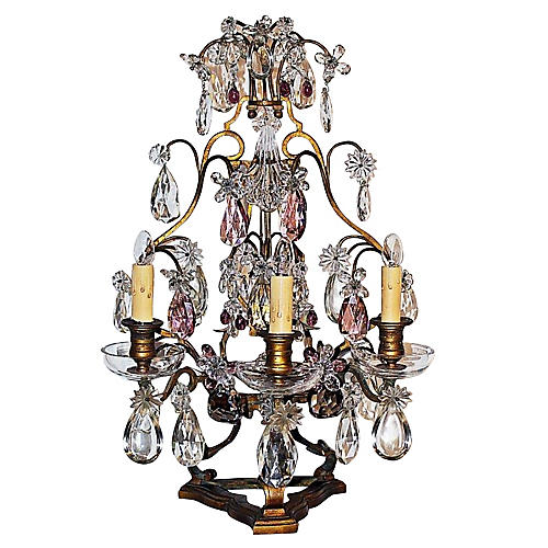 19th-C. French Baccarat Girandole Lamp