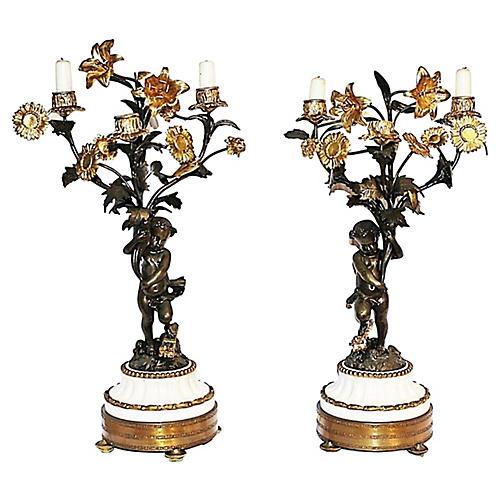 19th-C. Gilt Bronze Candelabra, S/2