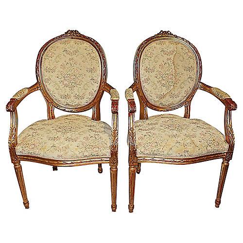 Louis XVI-Style Fauteuils, Pair