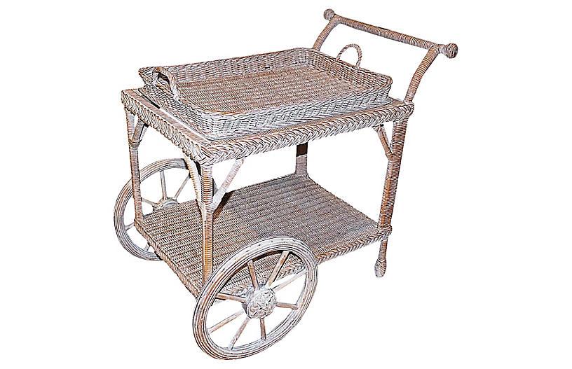 Smithsonian-Henry Link Wicker Tea Cart