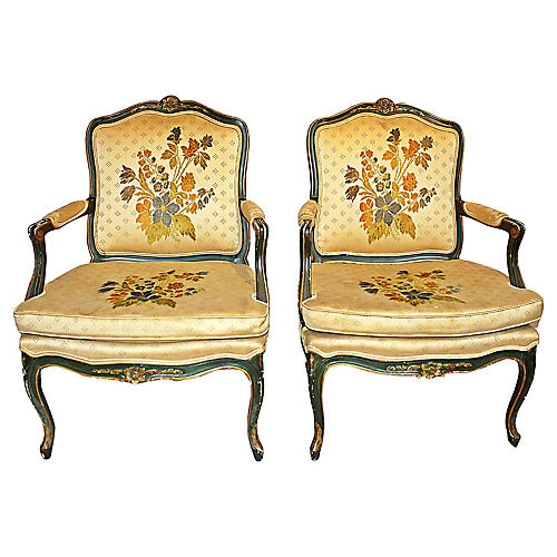 French Louis XV-Style Armchairs, Pair