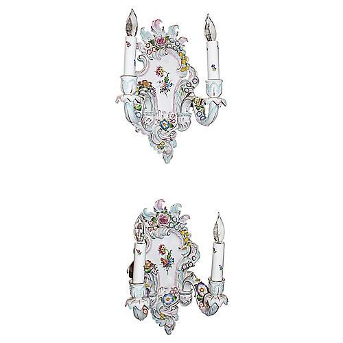Rococo-Style Porcelain Sconces, Pair