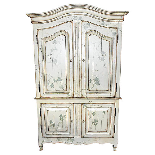 Painted Linen Press Armoire